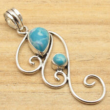 Beautiful Simulated LARIMAR LOVELY Pendant ! Silver Plated Over Solid Copper