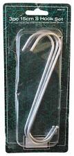 3 x 15cm S Shaped Metal Hanging Hook Set Rails Home Kitchen Garden Garage Tools