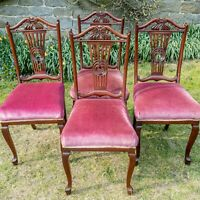 Edwardian Mahogany High Back Carved & Pierced Set of 4 Dining Chairs C1905