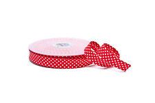 Schrägband Einfassband Borte Bordüre rot mit weißen Punkten  18 mm