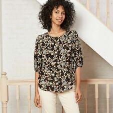 Women's Floral Print Flounce 3/4 Sleeve Button Front Top Lurex Knox Rose