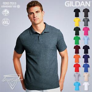 Gildan Mens Polo Shirt Softstyle Adult Double Pique Cotton Short Sleeve Top