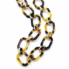 NEW Tortoise Shell Necklace Gold Tone Link Chain Link Collar Bib Fashion