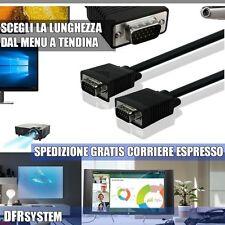 CAVO monitor tv pc VGA da MASCHIO A MASCHIO NERO DA 1,8 5 10 15 20 30 METRI MT
