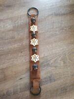 """Vintage Christmas Jingle Bells Door Hanger Brown Suede Strap Snowflake 22"""""""