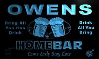 p1111-b Owens Home Bar Beer Family Name Neon LED Sign