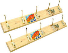 2 x Pine Coat Rack Door Or Wall Mount Hat Rack Wooden Multi 5 Hook Coat Hanger