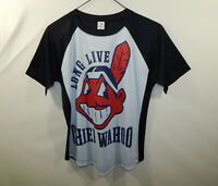Long Live Chief Wahoo Cleveland Indians MLB Baseball Ringer T Shirt Womens SMALL