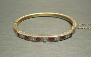 18K Yellow Gold Over 3.TCW Old European Cut Diamond Antique Ruby Bangle Bracelet