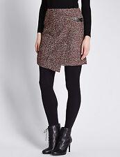 BNWT M&S Collection Burgundy Herringbone A Line Wool Blend Wrap Skirt Size 18