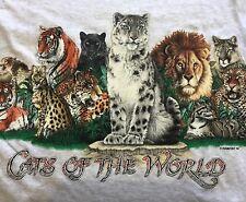 TRUE VTG. 1992 HABITAT-WILD CATS OF THE WORLD-T-SHIRT-M-RARE-LION, COUGAR,CATS