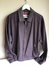Mens London Fog Leather Collar Brown Zip Up Long Sleeve Jacket Large
