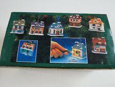 Set of 6 Vintage Christmas Dickens Village Bell Lites Porcelain Houses Jsny