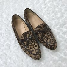 J Crew 6.5 Classic Leopard Printed Calf Hair Academy Loafer Flats Bow $248