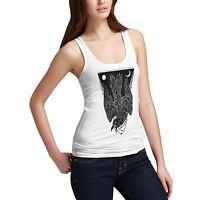 Twisted Envy Women's Cotton Black Crow Print Tank Top