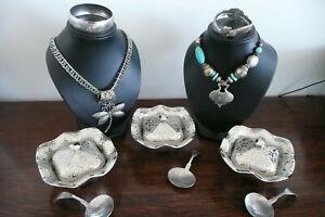 Vintage Turkiye Decorative Lidded Bowls & Caddy Spoons & Moroccan Jewellery