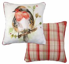 FILLED REVERSIBLE ROBIN FLORAL TARTAN EVANS LICHFIELD RED COTTON CUSHION 17""