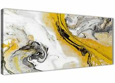 Mustard Yellow and Grey Swirl Bedroom Canvas Wall Art - Abstract Print