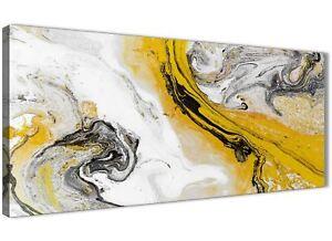 Mustard Yellow and Grey Swirl Bedroom Canvas Wall Art - Abstract Print