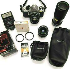 Pentax ME Super 35mm SLR Camera Bundle w/ Case, Lenses, Filters Flash and MORE!