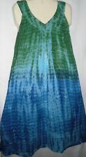 Womens Dress Mumu Sundress Cotton Green Blue Tie Dye Free Size Fits 1X  2X