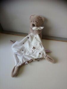 Doudou peluche ours beige mouchoir blanc étoiles Pommette état neuf