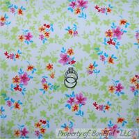 BonEful FABRIC FQ Cotton Quilt White Pink Aqua Blue Flower Green Leaf Yellow Red