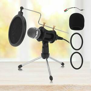 Mini Condenser Microphone Stand with Mic Clip Holder Desk Top Telescopic Tripod