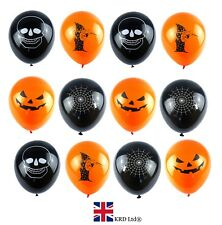 15x HALLOWEEN BALLOONS Skull Trick Treat Cobweb Decorations Parties Party Spooky