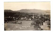 VT - STOWE VERMONT RPPC Postcard MOUNT MANSFIELD CHURCH BIRDS EYE VIEW $3 TOLL