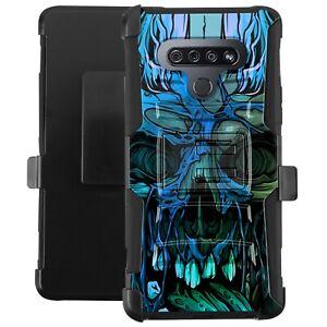 Holster Case For LG Stylo 6 /Stylo 6 Plus Phone Hybrid Cover - BLUE CURSED SKULL