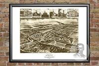 Old Map of Burnham, PA from 1906 - Vintage Pennsylvania Art, Historic Decor