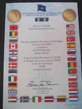 GENUINE NATO MEDAL CERTIFICATE - ISAF AFGHANISTAN PRE 2011 - MINT CONDITION