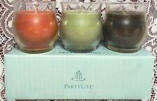 PartyLite Bestburn Mini Jar Candles Set Lot 3 Sweet Flag Fern Teakwood Cardamom