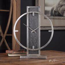 AGED SILVER CHAMPAGNE METAL ROUND TABLE DESK CLOCK MODERN AGED BLACK VENEER