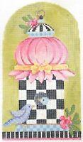 Needlepoint Handpainted Kelly Clark BIRDHOUSE Spring Tuffet 4x7