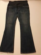 OLD NAVY MATERNITY MEDIUM WASH JEANS BOOT CUT FULL PANEL STRETCH SIZE 8