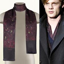 "NEW $345 GUCCI RUNWAY MEN's Black Red FLORAL IRIS PRINT Formal Silk SCARF 55"""