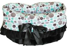 Pet Flys Aqua Party Dots Snuggle Bugs Pet Bed, Carrier Bag, Car Seat All-in-One