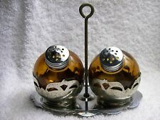 Dark Amber Glass Bulbs w/Tray Salt & Pepper Shakers Set S&P