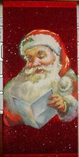 Vintage Rich Red Velvet Santa and glitter Christmas card