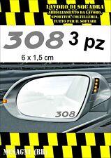 KIT 3 ADESIVI PEUGEOT 308 SPECCHIETTO INTERNO AUTO ARGENTO SILVER 6 X 1,5 CM