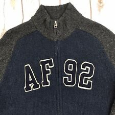 Abercrombie and Fitch Muscle Sweater L Mens 90s Full Zip Wool Blend Blue Gray