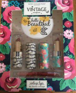 Body Collection Vintage Lips Lipstick & Compact Mirror Gift Set Vegan