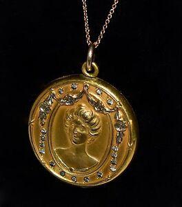 Stunning Antique Victorian Repousse GF LOCKET w 17 Paste Stones Chain/necklace