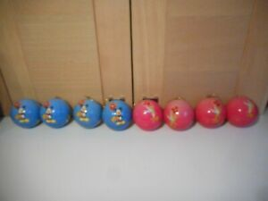 8 DISNEY STORE MICKEY MOUSE AND TINKERBELL BLUE AND PINK CHRISTMAS TREE BAUBLES