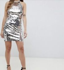 TFNC Petite sequin high neck bodycon dress in multi uk size 8 #20