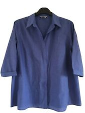 Mothercare Blue Maternity Wear Smart Cotton Checked Button-up Shirt Size 18