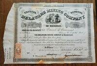 1863 Delaware Mining Company Michigan Stock Certificate MI MICH