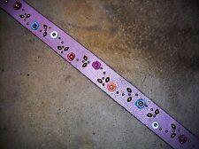 Ladies Vintage Spring Crackle Pink Handmade Riveted Florets Leather Belt Sz. 32